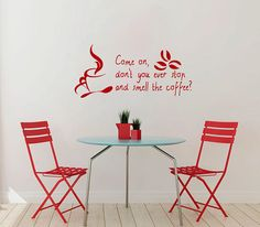Vinyl Decals  Smell Coffee Bean Cup Mug Quote Home by BestDecals, $26.99