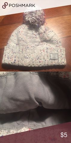 Girls Youth UA Beanie Heathered gray with pink and purple. Good condition. Pet and smoke free home. Accessories Hats