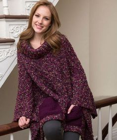 Cozy Pocketed Knit Poncho available on AllFreeKnitting.com