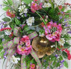 X Large Spring & Summer Outdoor Wreath With Pink Hydrangeas and Humming Bird by LadybugWreaths, $219.00