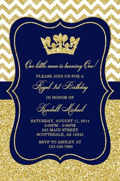 Royal Blue and Gold Baby Shower Invitations Luxury Prince Baby Shower Invitation Royal Blue Gold Baby by Honeyprint Baby Shower Prince Birthday Theme, King Birthday, 1st Boy Birthday, Gold Birthday, Birthday Ideas, Printable Baby Shower Invitations, Birthday Party Invitations, Invites, Little Prince Party