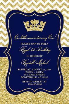 Prince Birthday Party Invitation Royal Blue Gold by Honeyprint