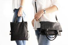 Crossbody bag / Borsa tracolla / borsa in pelle, in morbida pelle italiana nera…