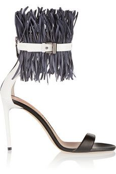 Reed Krakoff Feather-embellished patent-leather sandals | THE OUTNET