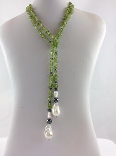 Idea for beading necklace. Peridot Lariat Wrap Necklace with Hematite and Freshwater Baroque Pearls