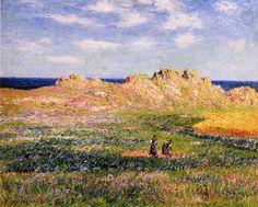 L Ile d Ouessant, huile sur toile de Henri Moret (1856-1913, France)