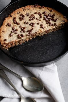 Low Carb Browned Butter Chocolate Chip Skillet Cookie | http://cafedelites.com