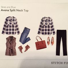 Barbi Stitch Fix #5 - Skies are Blue Avena Split Neck Top - More like a blouse... Can dress up or down... KEPT!!