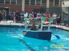 Wonka Boat Made Completely Of Cardboard Floating On Water