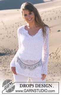 DROPS Loosely knitted jumper with neck slit in Salsa ~ DROPS Design