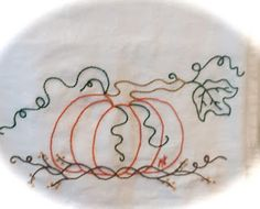 Embroidery Fall Pumpkin Dish Towel