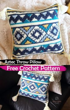 Aztec Throw Pillow Free Crochet Pattern #crochet #crafts #yarn #pillow #homedecor #handmade #homemade #style #idea