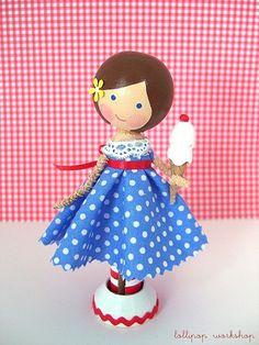 Clothespin Doll, ice cream cone