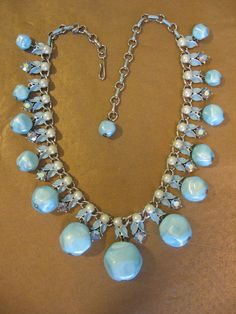 Vintage Baby Blue Necklace with  Faux Pearls by jwvintagejewelry, $54.00