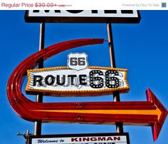 SALE Route 66 Motel Vintage Neon Sign by AroundTheGlobeImages, $25.50