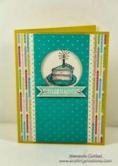DSP: Birthday Basics Card Stock: Summer Starfuit, Bermuda Bay, Very Vanilla Ink: Stazon, Bermuda Bay, Crisp Cantaloupe Markers: Pool Part...