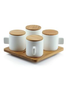 Coffee Cups with Bamboo Tray Set of 4