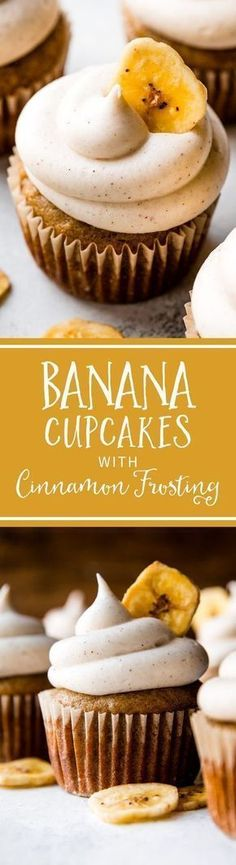 Banana Cupcakes with Cinnamon Cream Cheese Frosting Just Desserts, Delicious Desserts, Dessert Recipes, Yummy Food, Cupcake Recipes Easy, Cinnamon Cream Cheese Frosting, Cinnamon Cream Cheeses, Yummy Treats, Sweet Treats