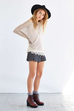 urban outfitters | Staring At Stars Crochet-Trim Sweater