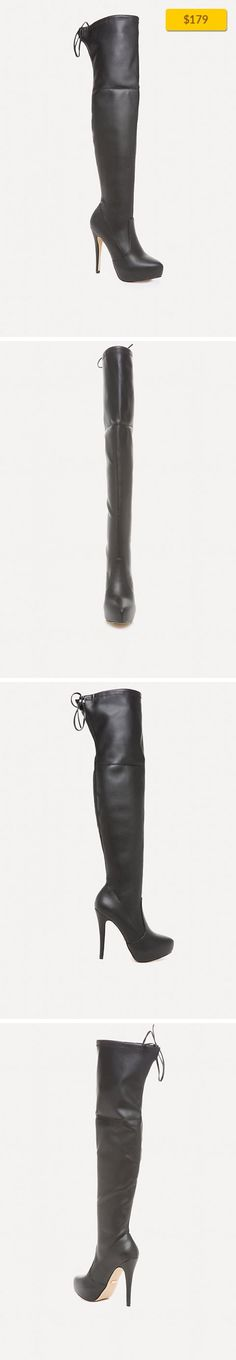 """Gia Over the Knee Boots NEW, ALL NEW ARRIVALS BLK   Stunning boots in an essential over-the-knee design. Molded silhouette, platforms and steep stiletto heels make legs look fabulous. Back thigh tie closure. Synthetic upper, synthetic outsole Imported Heel height: 5"""" (12.5 cm)"""
