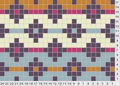 Fair isle Diamonds And Stripes knitting motif Tapestry Crochet Patterns, Fair Isle Knitting Patterns, Fair Isle Pattern, Bead Loom Patterns, Knitting Charts, Knitting Stitches, Cross Stitch Patterns, Pixel Crochet, Crochet Chart