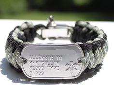 Medical Alert ID Dog Tag King Cobra 550 Paracord Survival Strap Bracelet with ADJUSTABLE Stainless Steel Shackle. $35.00, via Etsy.