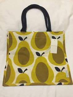 1d34c29cbadb Orla Kiely Pear Tote Bag Yellow Fruit Tesco 2016 Shadow White Gift Jute  Brown