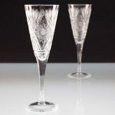 2 Vintage Sektgläser Schleuderstern Sektglas Kristall Gläser U4O