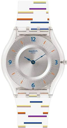 Swatch Skin Thin Liner Silver Dial Silicone Strap Ladies Watch SFE108 Swatch  watch  swatchwatch   7c413e459a