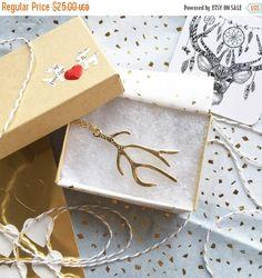 SALE Antler Necklace Gold Antler Necklace Deer by FawningInLove