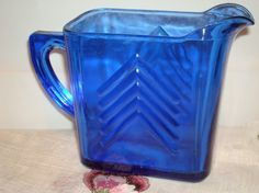 Vintage Cobalt Blue Small Glass Pitcher