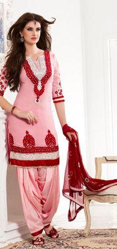 $87.21 Pink 3/4 Sleeve Georgette Knee Length Punjabi Salwar Kameez 18753