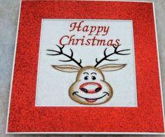 handmade embroidered Christmas Card Santa Happy Christmas Rudolph ex lge card