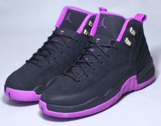 Photos and release date for the Air Jordan 12 GS Hyper Violet colorway (Black/Metallic Gold Star-Hyper Violet, style Jordan Shoes Girls, Jordans Girls, Nike Air Jordans, Girls Shoes, Jordans For Kids, Retro Jordans, Shoes Jordans, Jordan Outfits, Boy Shoes