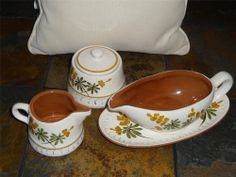 Sold = Vintage Stangl Pottery ~ Gravy Boat with Underplate Sugar Creamer GOLDEN BLOSSOM