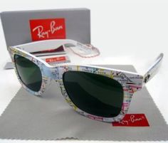 Ray Ban Wayfarer RB2140 map Sunglasses in White 1033A