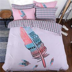 100% Cotton Bedding Set 4pcs Lovely Feather Leopard Style Duvet Cover Set Cartoon Bed Linen Bedclothes for 1.5m/1.8m Width Bed #Affiliate