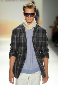 Shop this look for $125:  http://lookastic.com/men/looks/beige-scarf-and-white-chinos-and-charcoal-blazer-and-light-blue-crew-neck-t-shirt/180  — Beige Scarf  — White Chinos  — Charcoal Plaid Blazer  — Light Blue Crew-neck T-shirt