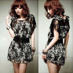 Sexy lace bowknot chiffon mini dress