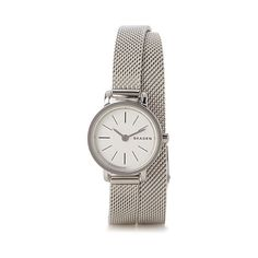 Skagen Silver band double-wrap Hagen watch ($145) ❤ liked on Polyvore featuring jewelry, watches, water resistant watches, wrap watches, skagen watches, skagen jewellery and skagen wrist watch
