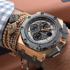 Audemars Piguet ROO Michael Schumacher, Grey with Rose Gold case. Amazing Watches, Beautiful Watches, Cool Watches, Rolex Watches, Men's Accessories, Gold Case, Cool Mens Bracelets, Audemars Piguet Watches, Brand Name Watches