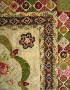 It dawned on me today that I haven't yet showed you part 2 of Mountmellick, which I completed last week. Vandaag bedacht ik dat ik jullie n. Vintage Quilts Patterns, Applique Quilt Patterns, Antique Quilts, Quilt Border, Border Pattern, Pattern Blocks, Hexagon Quilt, Hexagons, Civil War Quilts