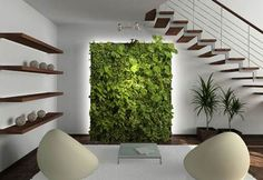 Lawn & Garden Vertical Garden For Nice Indoor Green Wall Ideas White Fur Rug White Stained Wall Wooden Rack Wall Mounted Bean Bag Chair Amazing Vertical Interior Garden Wall For Modern Home Design Green Interior Design, Interior Garden, Interior Walls, Interior And Exterior, Vertical Garden Design, Vertical Gardens, Vertical Planter, Vertical Farming, Mini Gardens