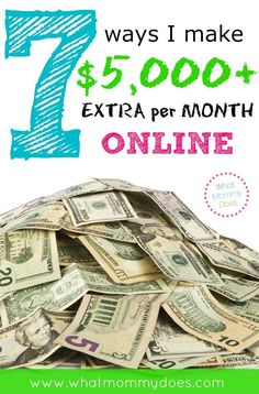 $5,000 EXTRA INCOME EXAMPLE - This is a breakdown of how I make extra money online every month with my blog. All the signs are pointing to now being a great time to start a blog or internet business! This has links to ideas & products that moms can promote online to earn extra cash on the side. Working at home in my free time sure beats going to work everyday at an office & I get to stay at home with my kids. :)