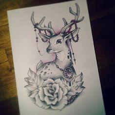 Next week!! #deer #deertattoo #rosetattoo #tattoodesign  #tattooidea  #neo #neotrad #neotraditional #tattoodrawing