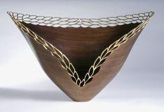 Malcolm Zander |  Leaves in the Golden Wind.  Black Walnut wood and 23K gold leaf