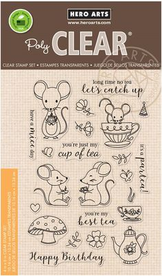 Hero Arts - Clear Stamp - Mouse Tea Party