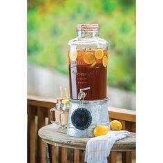 Mason Jar Beverage Dispenser with Galvanized Stand $24.98 :: 1 for Tea :: 1 for Sweet Tea :: 1 for Water :: 1 for Lemonade