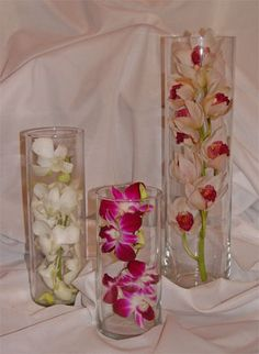 Submerged Orchid Centerpieces - Tall Orchid Centerpiece, Medium and Small with Hydrangeas?