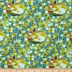 Tula Pink Chipper Fox Nap Mint from @fabricdotcom  Designed by Tula Pink for Free Spirit, this cotton print is perfect for quilting, apparel and home decor accents. Colors include shades of green, orange, red, turquoise and white.